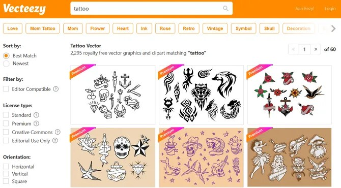 Vecteezy Screenshot - The 10 Best Sites for Free Tattoo Designs and Ideas