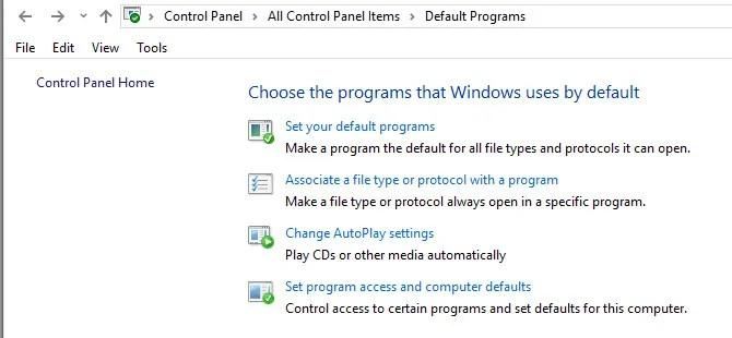 Панель управления Windows Программы по умолчанию