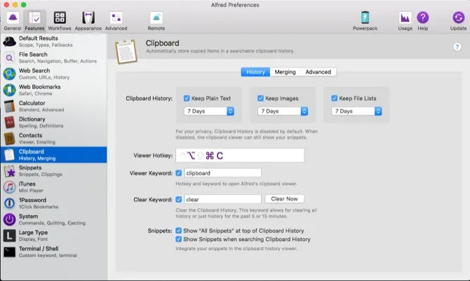 store temporary items with alfred clipboard feature - Write Better on Your Mac With These 9 Apps and Tricks