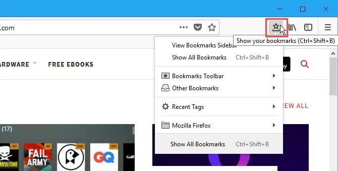 Menu Segnalibri sulla barra degli strumenti di Firefox