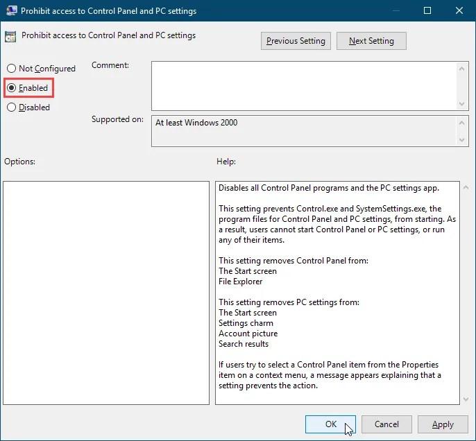Abilitare l'opzione Impedisci l'accesso alle impostazioni del Pannello di controllo e delle impostazioni del PC nell'Editor Criteri di gruppo locali in Windows 10