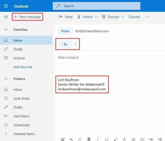 Firma automaticamente inserita in una nuova email in Outlook in Office 365