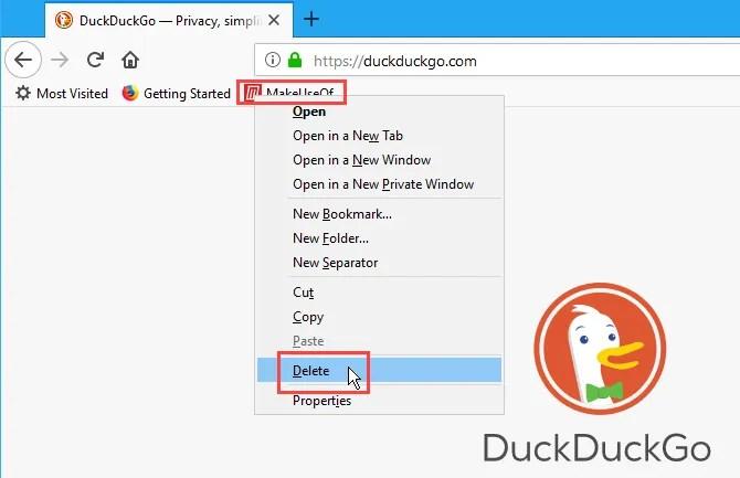 Fai clic con il tasto destro del mouse su un segnalibro in Firefox e seleziona Elimina
