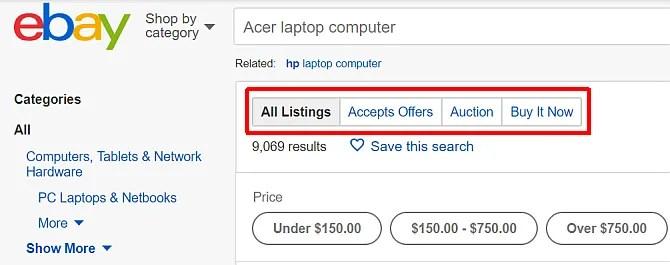 tipi di annunci online di eBay