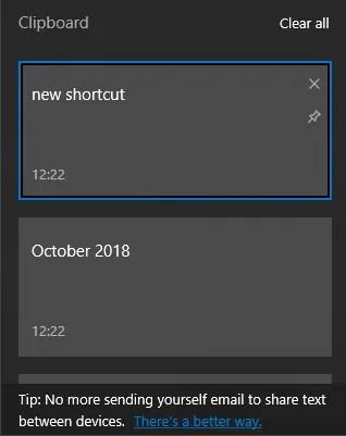 Cronologia degli appunti di Windows 10