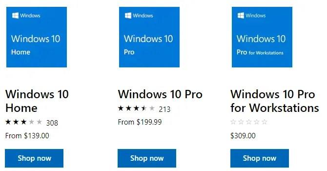 Лицензии на Windows 10 от Microsoft Store