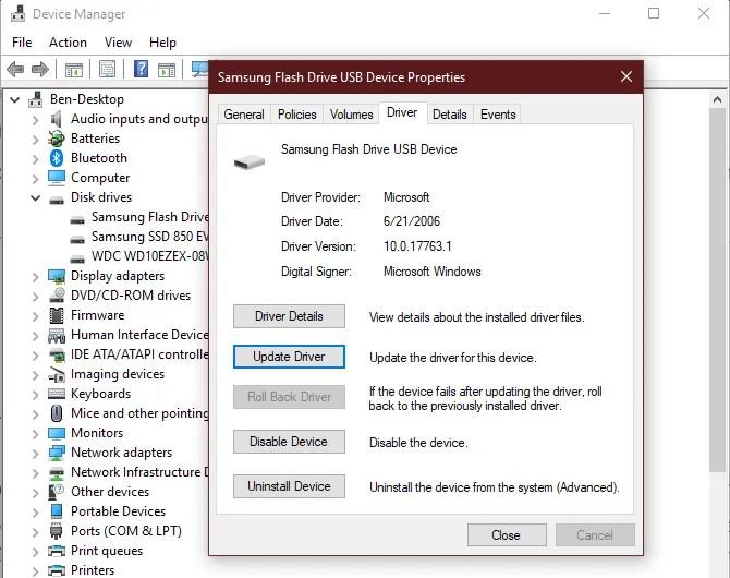 Параметры устройства диспетчера устройств Windows