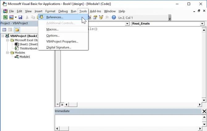 aggiungendo riferimenti in Excel