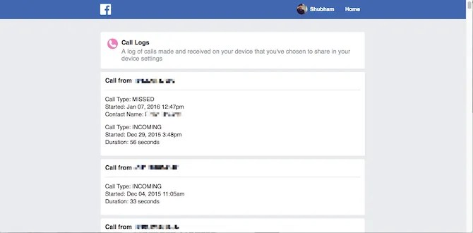Registri delle chiamate di Facebook