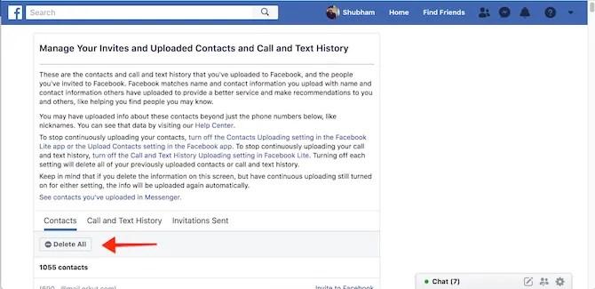 Facebook Elimina contatti, registri delle chiamate