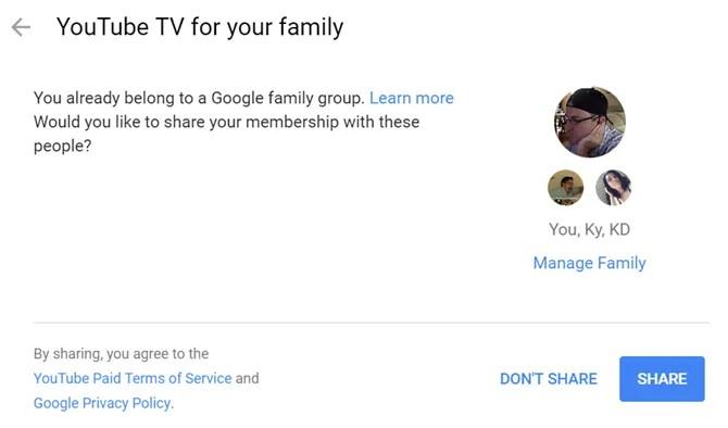 condividendo youtubetv con la famiglia