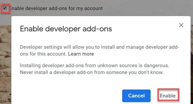 attiva i componenti aggiuntivi per sviluppatori di Gmail