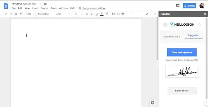Componente aggiuntivo HelloSign di Google Documenti