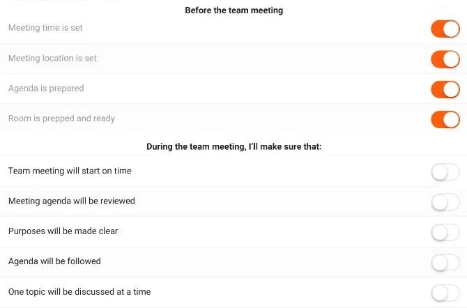 utilizzare l'elenco di controllo del team meeting per garantire che la riunione venga eseguita in modo efficiente