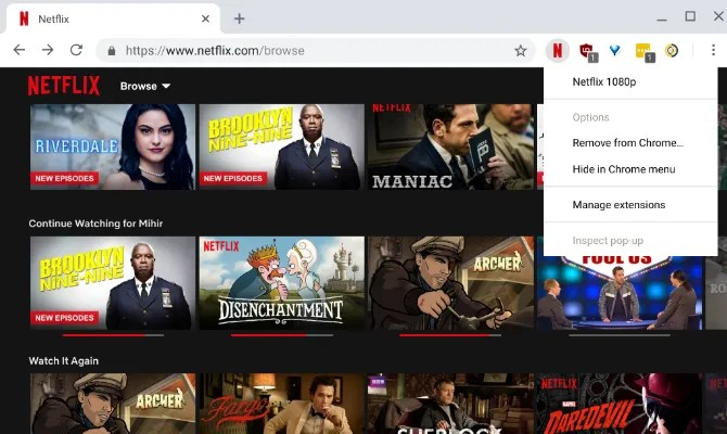 L'estensione Netflix 1080p ti consente di riprodurre in streaming Netflix in full hd 1080p su Chrome