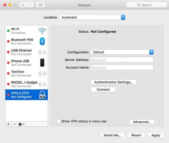 Configurazione di macOS VPN