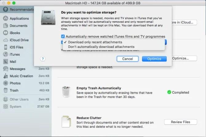 ottimizza l'opzione di archiviazione per rimuovere file enormi