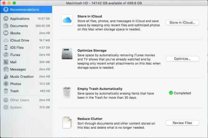 finestra di archiviazione ottimizzata Mac
