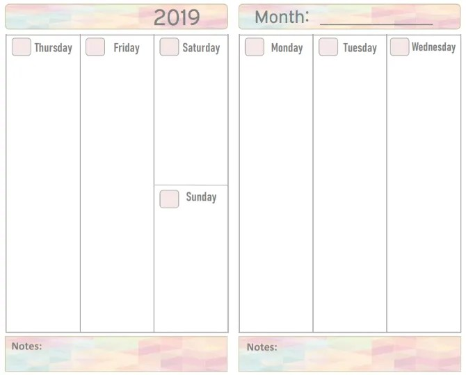 Crea il calendario 2019 stampabile gratuito di Your Own Zone