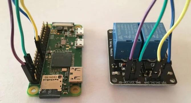 Raspberry Pi Zero W collegato a una scheda relè