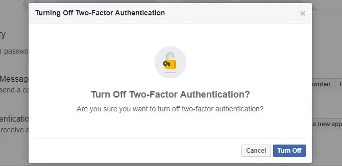 Tun off Facebook two-factor authentication.