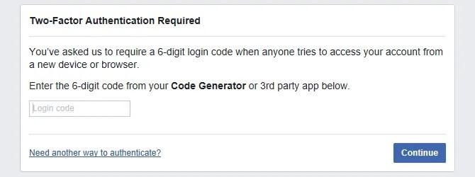 È richiesto il codice di accesso all'autenticazione Facebook a due fattori.