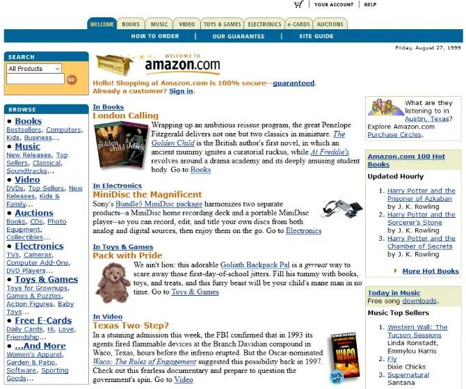 Screenshot of Amazon's website in 1999