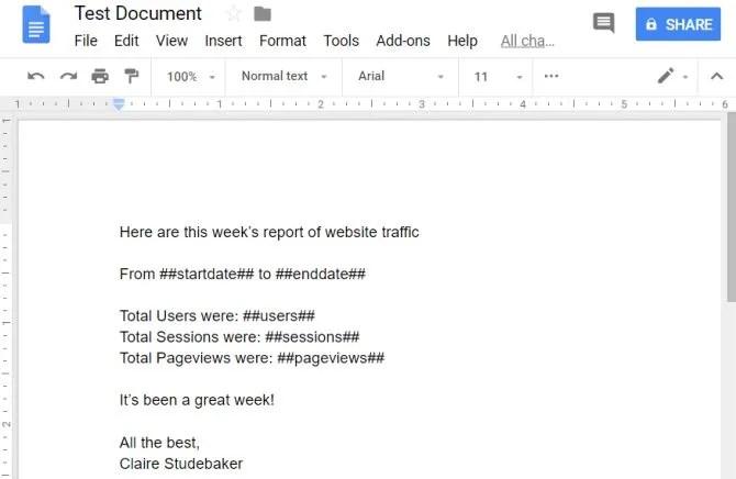 modello di report analitici