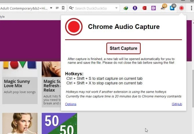 chrome audio capture extension for chrome
