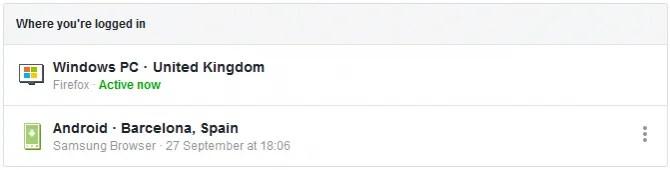 Vedendo tutte le tue sessioni attive su Facebook