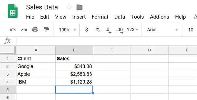 google sheet data
