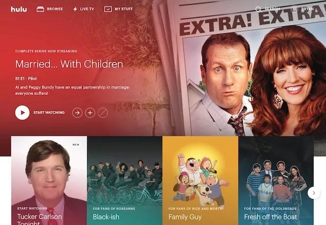 Schermata principale di Hulu Live TV