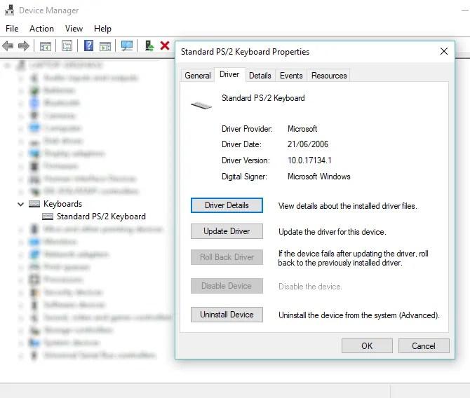 Aggiorna il driver di Windows per riparare una tastiera portatile