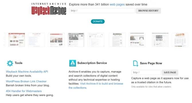 wayback machine home page