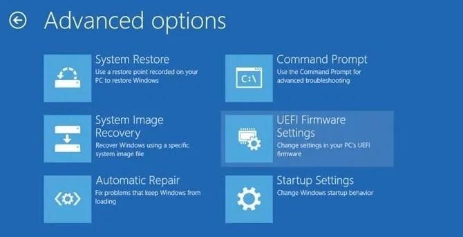 Windows 10 Troubleshoot Advanced Options UEFI Firmware Settings - The Internet Tips