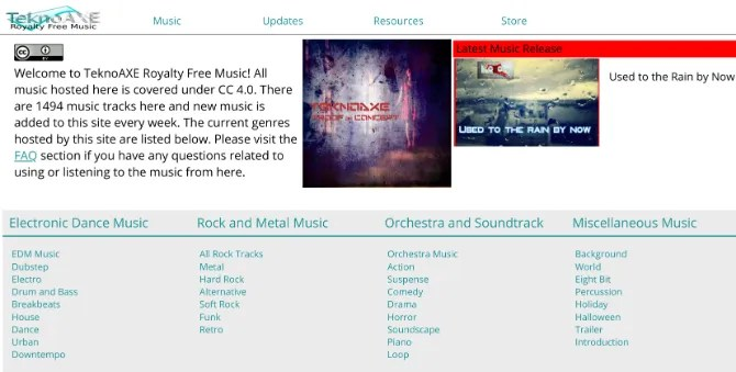 TeknoAXE has a large collection of free and royalty free music to download