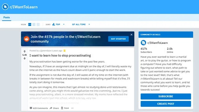 Я хочу изучить Subreddit
