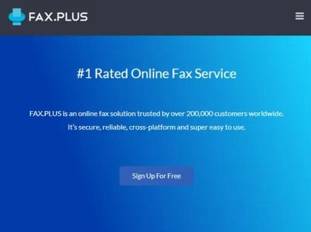 FaxPlus Online Faxing Service Website Splash Page