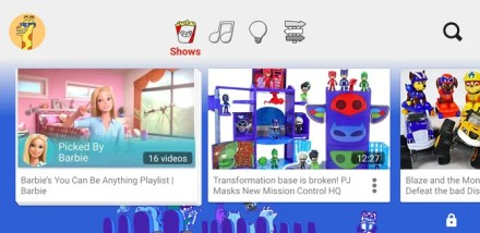 YouTube Kids Android Video Selection Screen