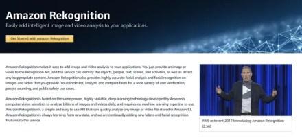 Screenshot of Amazon's Rekognition marketing website