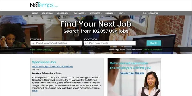 الصفحة الرئيسية للبحث عن وظائف NetTemps