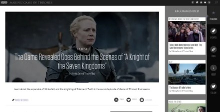 Making Game of Thrones, the official GoT blog for behind the scenes material, is an unheralded gem
