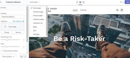 Shopify Theme Customization Edit Pages