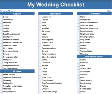 Google Docs Wedding Checklist Template