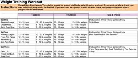 Google Docs Weight Training Template