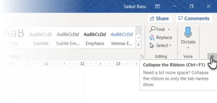 Hide the Microsoft Word Ribbon with a shortcut key