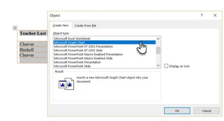 Insert a graph chart in Microsoft Word
