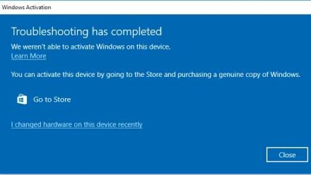 Windows 10 Activation Changed Hardware