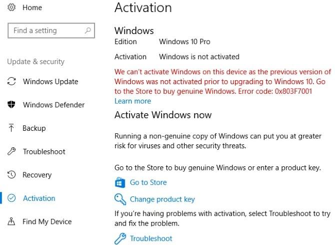 Windows 10 không được kích hoạt