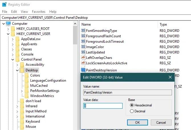 Windows Registry Paint Phiên bản máy tính để bàn